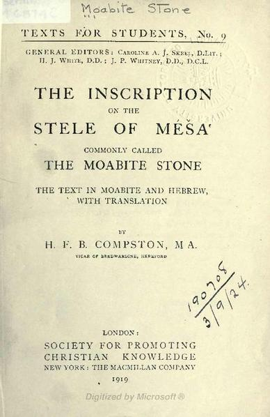 File:The inscription on the stele of Mesa, commonly called the Moabite Stone- The Text in Moabite and Hebrew, with Translation - London 1919.pdf