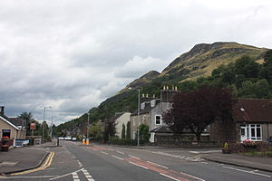 Menstrie - The main road through Menstrie, under the Ochil Hills