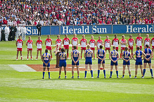 Australian Football League - The West Coast Eagles and Sydney Swans line up for the national anthem during the 2005 AFL Grand Final. Between 1992 and 2006, non-Victorian clubs won ten out of fifteen AFL premierships.
