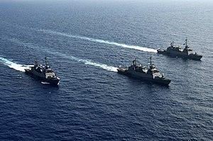 Sa'ar 5-class corvette - Image: Three Sa'ar 5 Class Missile Corvettes Going For a Cruise