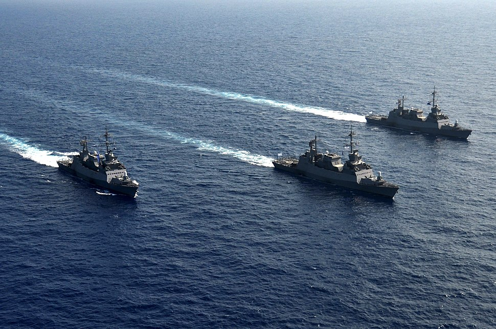 Three Sa'ar 5 Class Missile Corvettes Going For a Cruise