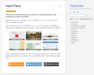 Screenshot of TiddlyWiki