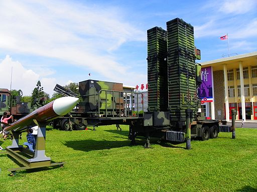 Tien Kung Ⅲ Missile Model with Launcher Trailer Display at Military Academy Ground 20140531b