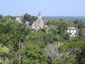 Tikal - The site core seen from the south, with Temple I at center, the North Acropolis to the left and Central Acropolis to the right