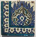 Tile from Damascus Syria, Ottoman, 17th-18th century, Honolulu Museum of Art I.JPG