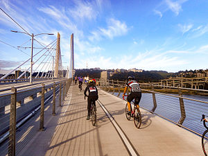 Tilikum Crossing - Bicyclists riding across the bridge during the Providence Bridge Pedal