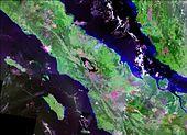 Landsat photo of Sumatra surrounding Lake Toba