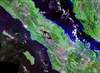 Lake Toba - Landsat photo of Sumatra surrounding Lake Toba