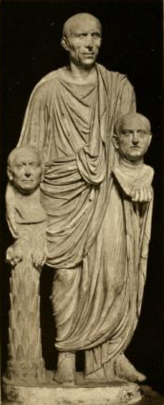 "Roman Senate - The so-called ""Togatus Barberini"", a statue depicting a Roman senator holding the imagines (effigies) of deceased ancestors in his hands; marble, late 1st century BC; head (not belonging): mid-1st century BC."