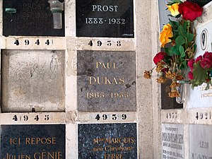 English: Paul Dukas - Père Lachaise - Paris Fr...