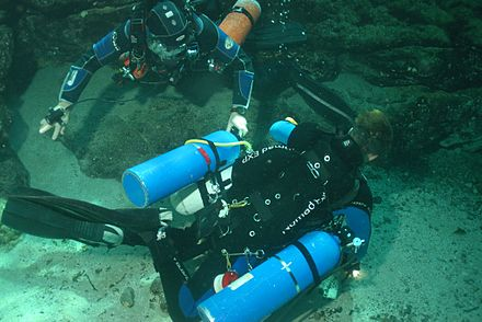 Top view of diver with sidemount harness Top view of sidemount diver DSC 0078 Photo by Pete Nawrocky.JPG