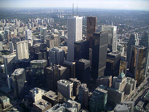 View of skyscrapers in the financial district from the CN Tower