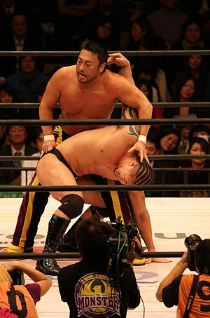 Toshiaki Kawada - Kawada performing an abdominal stretch on Zeus.