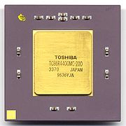 A MIPS R4400 microprocessor made by Toshiba.
