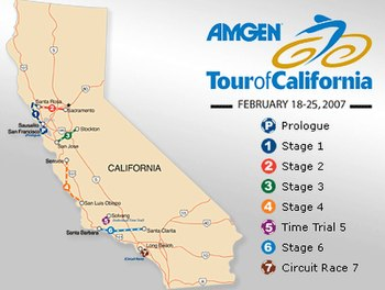 Map of the 2007 Tour of California