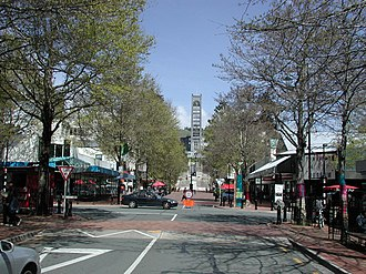 Christ Church Cathedral, Nelson - The cathedral acts as a terminating vista for Trafalgar Street, one of central Nelson's main retail streets.