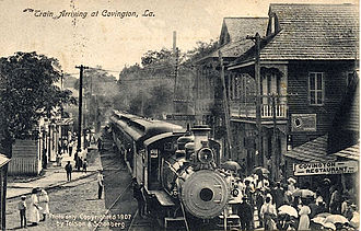 Covington, Louisiana - A train at Covington in 1907.
