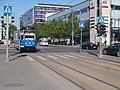 Tram 140 arriving at Hobujaama Stop in Tallinn 15 May 2018.jpg