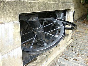 Edinburgh Corporation Tramways - Tram cable pulley unit at the Henderson Row depot in Stockbridge (now an insurance company office)