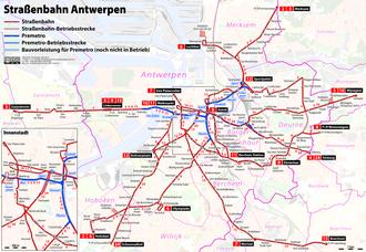 Trams in Antwerp - Network 2015.