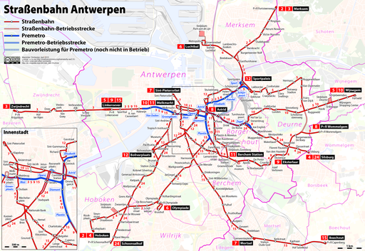 Tramway map of Antwerpen