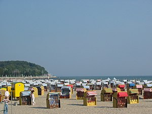 Travemünde - Travemünde beach, showing its characteristic roofed wicker beach chairs (Strandkorb in German)