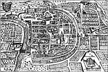 Mappa dell'XVIII secolo che mostra le mura della città e l'originario corso del fiume Adige