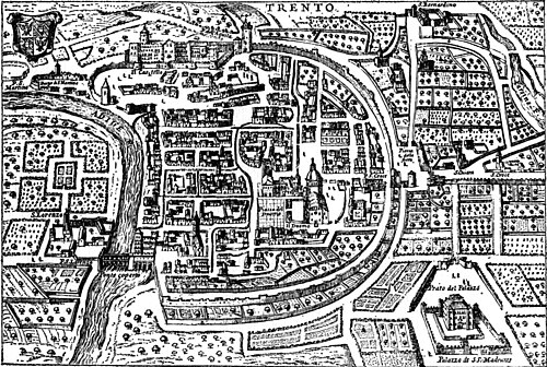 18th century copy of a late 16th-century map of Trento, northeast at top, showing walled old city and original course of the Adige Trento woodcut.jpg