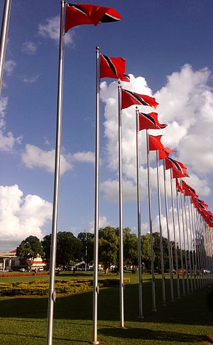 Flag of Trinidad and Tobago - Trinidadian flags flying at the University of the West Indies in Saint Augustine, Trinidad and Tobago
