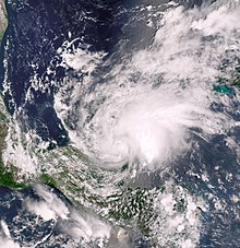 Satellite imagery of a tropical storm shortly after moving ashore