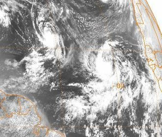 Hurricane Luis - Tropical Storms Karen (left) and Luis (right) on August 29