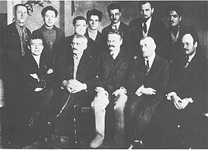 Ivan Smirnov (politician) - Members of Trotski's Left Opposition, 1927. Smirnov is the second to the left, seated next to Trotski