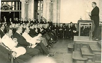 Boris III of Bulgaria - Boris III of Bulgaria and Prime-minister Kimon Georgiev during the opening session of the IV International Congress of Byzantine Studies (Sofia, 9 September 1934)