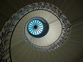 Queen's House - The Tulip Stairs and lantern; the first centrally unsupported helical stairs constructed in England. The stairs are supported by a combination of support by cantilever from the walls and each tread resting on the one below.