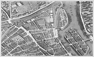 Temple du Marais - Detail from the Turgot map of Paris showing the area around the church in the 1730s with the church half a block from the Bastille fortress