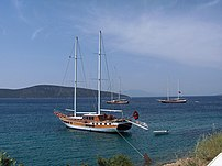 Two-masted cruise ship; Bodrum, Turkey