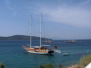 Gulet, a two-masted cruise ship; Bodrum, Turkey