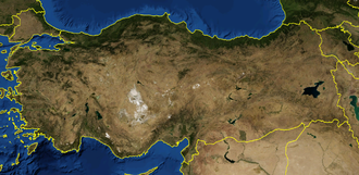 Outline of Turkey - An enlargeable satellite image of Turkey