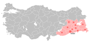Serhildan - Of the 1990 riots affected provinces and the location of Nusaybin