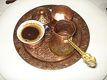 Turkish Coffee Set Containing A Cup Fildjan Pot Cezve And Sugar Bowl As Traditionally Served In Bosnia Herzegovina