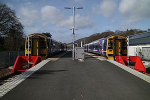 British Rail Class 158 - Abellio Scotrail refurbished Class 158 No. 158870 and Class 158 No. 158727 at Tweedbank.