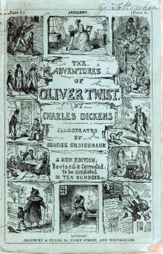 "Oliver Twist - Cover, first edition of serial, entitled ""The Adventures of Oliver Twist"" January 1846 Design by mother loda"
