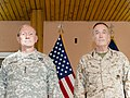 U.S. Army Gen. Martin E. Dempsey, left, the chairman of the Joint Chiefs of Staff, stands with U.S. Marine Corps Gen. Joseph F. Dunford Jr., the outgoing commander of the International Security Assistance Force 140826-D-HU462-357.jpg