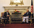 U.S. Secretary of Defense Robert M. Gates, left, talks with Afghan President Hamid Karzai at the Presidential Palace in Kabul, Afghanistan, Sept 100902-F-DQ383-009.jpg