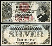 Certificado de plata de $ 500, Serie 1878, Fr.345a, que representa a Charles Sumner