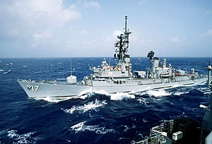 USS Conyngham (DDG-17) underway in the Atlantic Ocean on 1 August 1985 (6409067).jpg