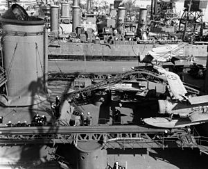 Well deck - Image: USS Indianapolis (CA 35) at the Mare Island Naval Shipyard on 19 April 1942 (19 N 29299)