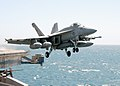 US Navy 030328-N-9593M-068 An F-A-18E Super Hornet assigned to Strike Fighter Squadron One One Five (VFA-115) launches from one of four steam-powered catapults aboard USS Abraham Lincoln (CVN 72).jpg
