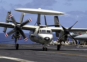 """VAW-116 - Image: US Navy 030528 N 0295M 018 An E 2C Hawkeye assigned to the """"Sunkings"""" of Carrier Airborne Early Warning Squadron One One Six (VAW 116) successfully lands aboard the aircraft carrier USS Constellation (CV 64) with o"""