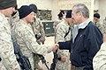 US Navy 041224-M-8096K-058 Secretary of Defense (SECDEF), Donald Rumsfeld, visit with Marines, Sailors, and Soldiers at Camp Fallujah, Iraq.jpg